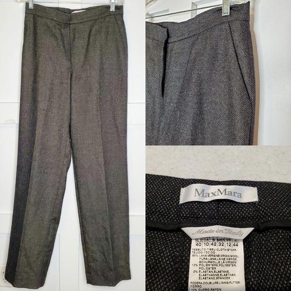 MaxMara Trouser Wool Tweed High Rise Pants Italy